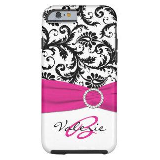 PRINTED RIBBON Pink, Black, White Floral Damask Tough iPhone 6 Case