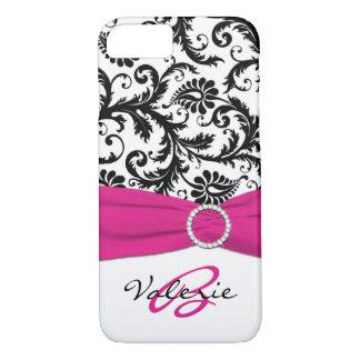 PRINTED RIBBON Pink, Black, White Floral Damask iPhone 7 Case