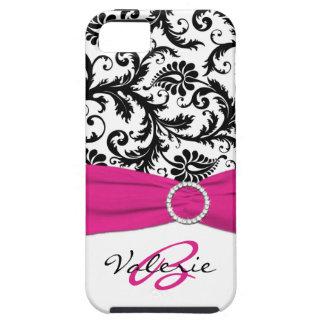 PRINTED RIBBON Pink, Black, White Floral Damask iPhone SE/5/5s Case