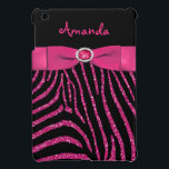 """PRINTED RIBBON Pink Glitter Zebra iPad Mini Case<br><div class=""""desc"""">This blinged out girly glam black zebra stripe animal print pattern and hot pink FAUX glitter (PRINTED) iPad Mini case has a PRINTED pink ribbon and PRINTED jewel buckle on it with a template box for you to add your name, initials, momogram, or other text to. it would make a...</div>"""