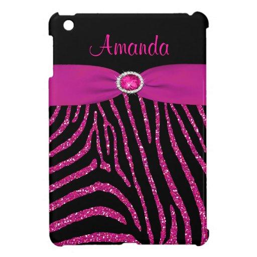 PRINTED RIBBON Pink Glitter Zebra iPad Mini Case