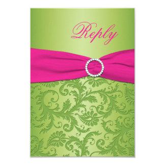 PRINTED RIBBON Pink, Green Damask Reply Card