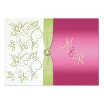"PRINTED RIBBON Pink Green Floral Monogram Invite 5"" X 7"" Invitation Card"