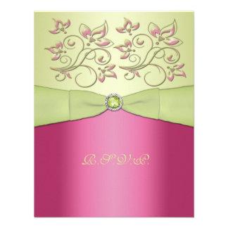 PRINTED RIBBON Pink, Green Floral RSVP Card