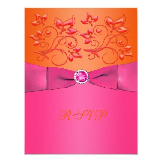 PRINTED RIBBON Pink, Orange Floral Reply Card