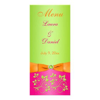 PRINTED RIBBON Pink Orange Lime Floral Menu Card