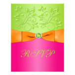 PRINTED RIBBON Pink Orange Lime Floral Reply Card
