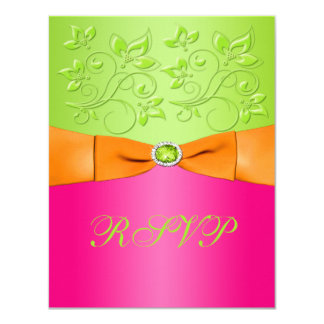 PRINTED RIBBON Pink Orange Lime Floral Reply Card