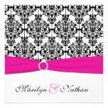 PRINTED RIBBON Pink White Black Damask Wedding Personalized Invitations