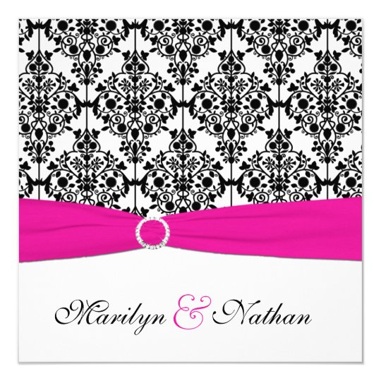 PRINTED RIBBON Pink White Black Damask Wedding Invitation