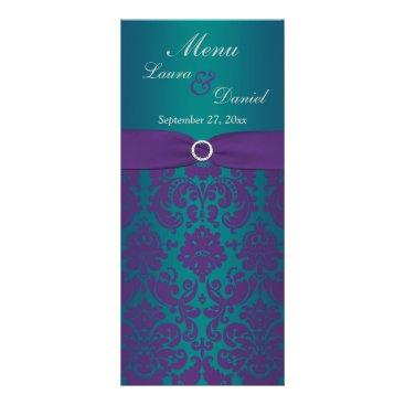 PRINTED RIBBON Prple, Teal Wedding Menu Card Custom Rack Card