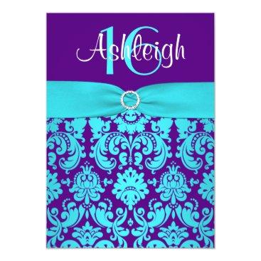 "PRINTED RIBBON Purple, Aqua 16th Birthday Invite 2 5"" X 7"" Invitation Card"