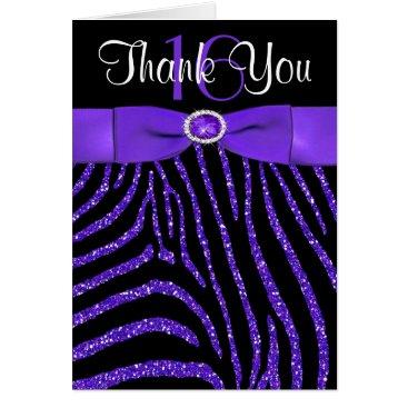 USA Themed PRINTED RIBBON Purple, Black Zebra Thank You Card