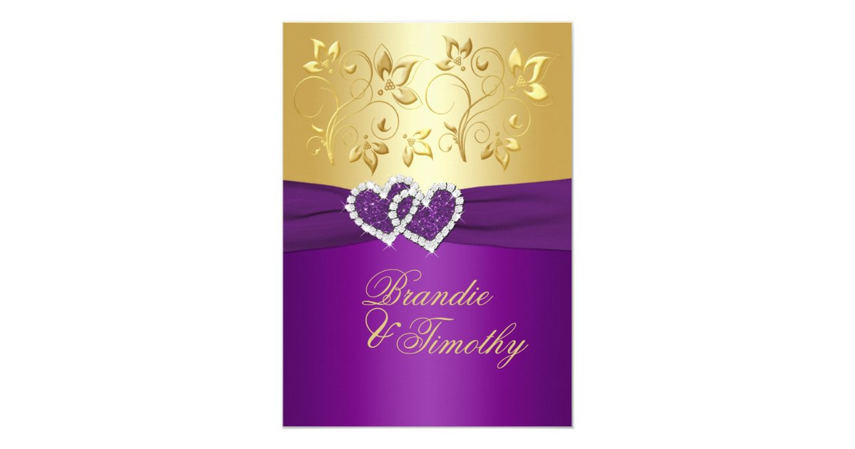 Wedding Invitations With Purple Ribbon: PRINTED RIBBON Purple, Gold Floral Wedding Invite