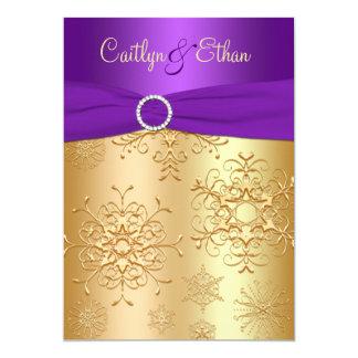 PRINTED Ribbon Purple, Gold Wedding Invitation