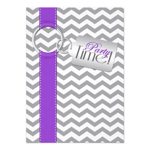 PRINTED RIBBON Purple Gray White 21 Birthday Party Personalized Invites