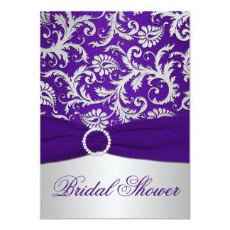 PRINTED RIBBON Purple, Silver Bridal Shower Invite