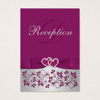 PRINTED RIBBON Purple Silver Floral Enclosure Card