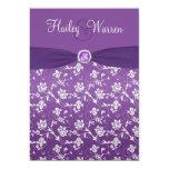 PRINTED RIBBON Purple Silver Floral Invite