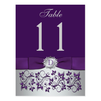PRINTED RIBBON Purple Silver Table Number Postcard