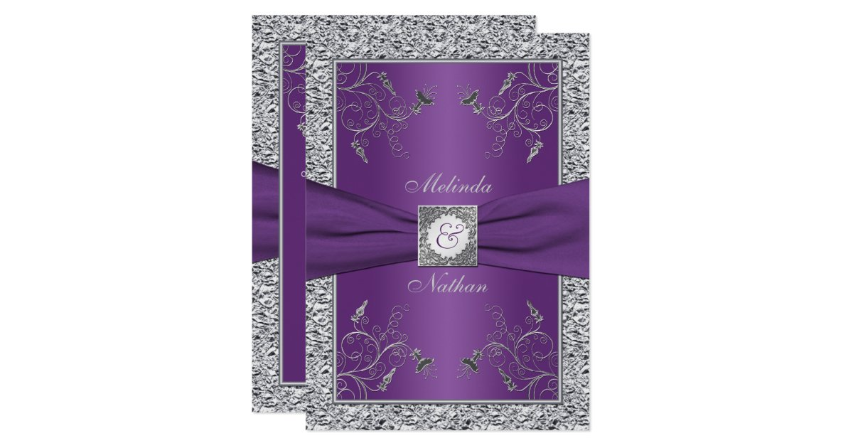 Wedding Invitations With Purple Ribbon: PRINTED RIBBON Purple Silver Wedding Invitation