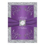 "PRINTED RIBBON Purple Silver Wedding Invitation 5"" X 7"" Invitation Card"