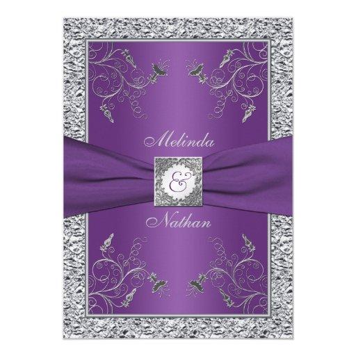 Silver Wedding Invitations: PRINTED RIBBON Purple Silver Wedding Invitation