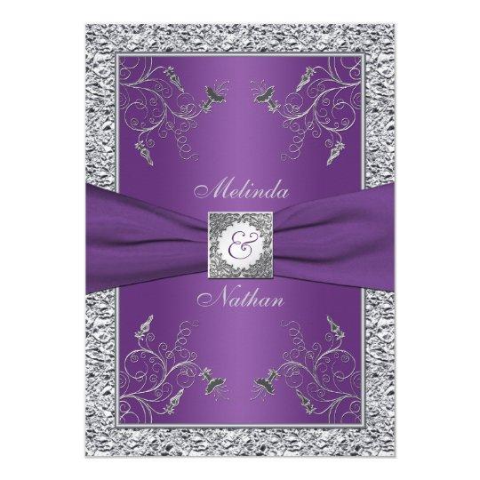 PRINTED RIBBON Purple Silver Wedding Invitation   Zazzle.com