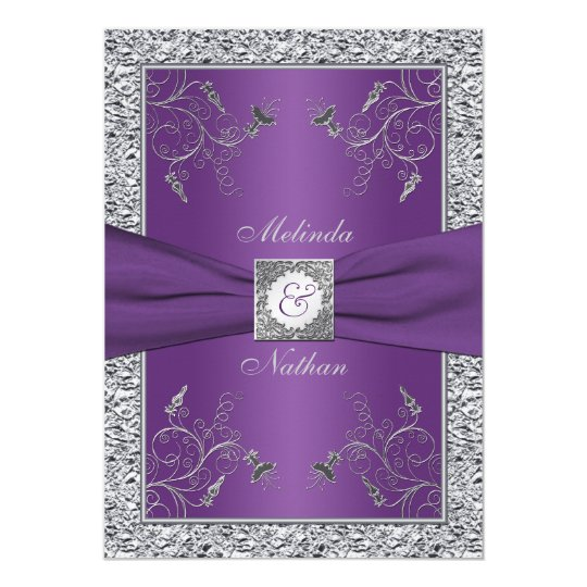 Printed ribbon purple silver wedding invitation zazzlecom for Lavender avenue wedding invitations