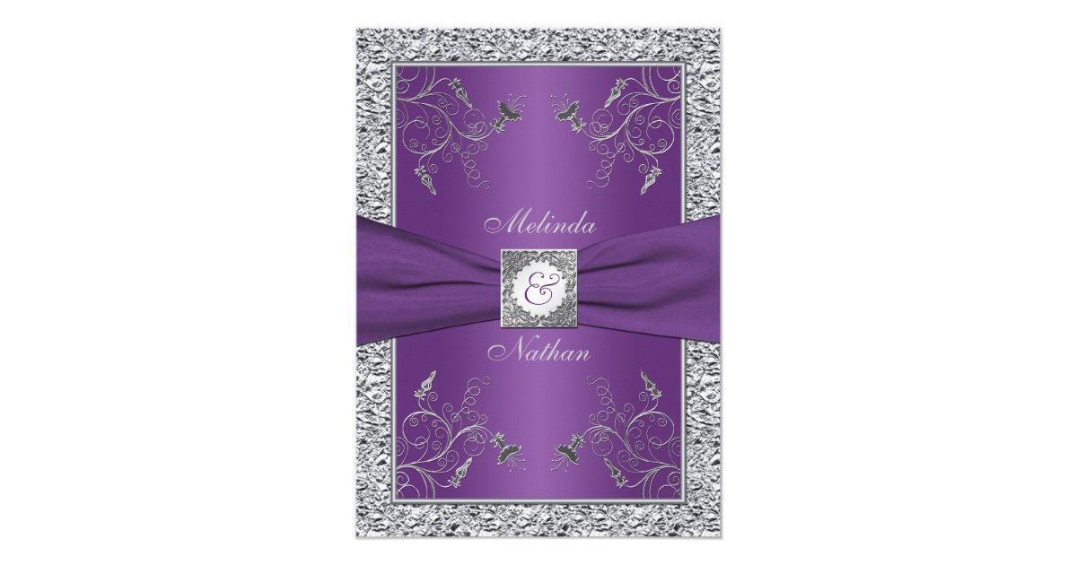 Silver And Purple Wedding Invitations: PRINTED RIBBON Purple Silver Wedding Invitation