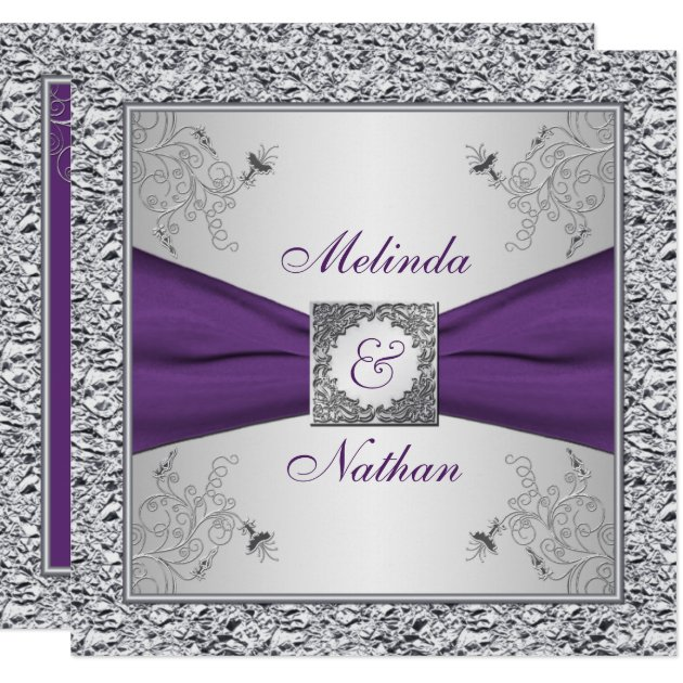Printed Ribbon Purple Silver Wedding Invitation Ii Zazzle