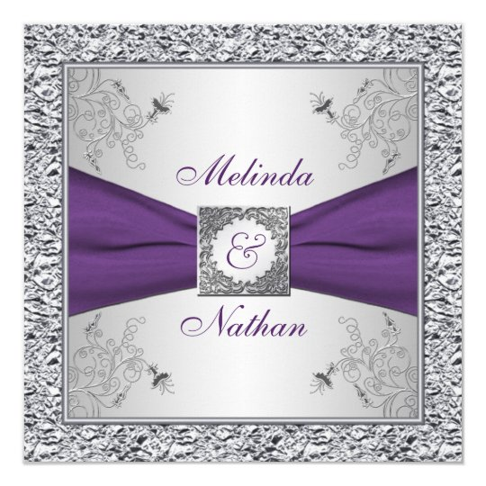 Printed ribbon purple silver wedding invitation ii for Lavender avenue wedding invitations
