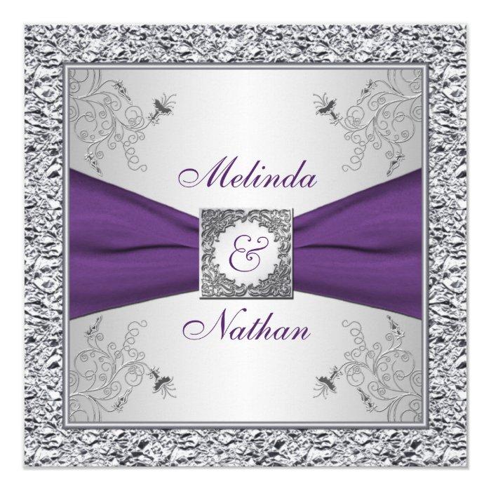 Silver And Purple Blank Invitations: PRINTED RIBBON Purple Silver Wedding Invitation II