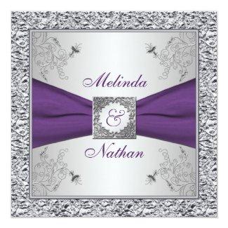 PRINTED RIBBON Purple Silver Wedding Invitation II
