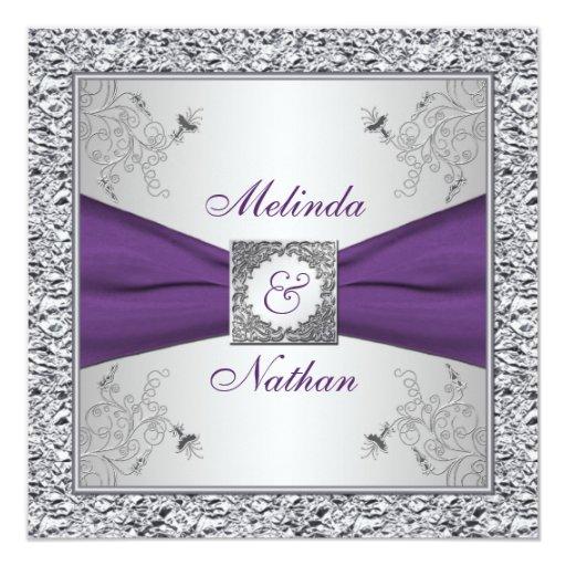 Silver Wedding Invitations: PRINTED RIBBON Purple Silver Wedding Invitation II