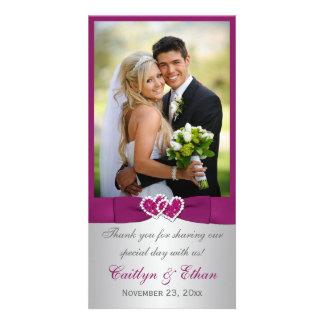 PRINTED RIBBON Purple, Silver Wedding Photo Card