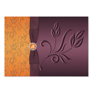 PRINTED RIBBON Purple, Tangerine Wedding Invite