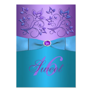 PRINTED RIBBON Purple, Turquoise Floral Sweet 16 5x7 Paper Invitation Card