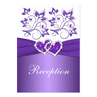 PRINTED RIBBON Purple White Floral Enclosure Card Business Cards