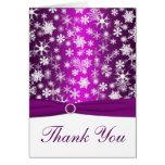 PRINTED RIBBON Purple, White Snowflakes Thank You Greeting Cards