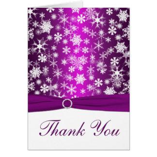 PRINTED RIBBON Purple, White Snowflakes Thank You Card