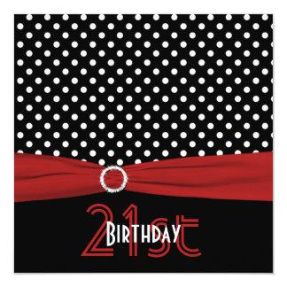 PRINTED RIBBON Red Black Polka Dots 21st Birthday Invitation