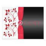 PRINTED RIBBON Red, Black, White Floral RSVP Card
