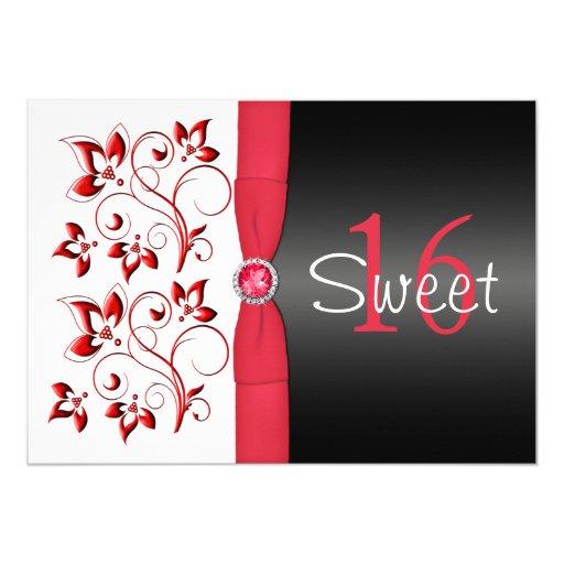 PRINTED RIBBON Red, Black, White Sweet 16 Invite