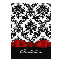 Printed ribbon Red damask  wedding invitation