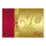 PRINTED RIBBON Red, Gold Floral RSVP Card