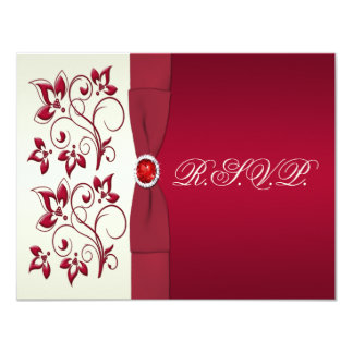 PRINTED RIBBON Red, Ivory Floral Reply Card