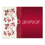 """PRINTED RIBBON Red, Ivory Floral Reply Card 4.25"""" X 5.5"""" Invitation Card"""