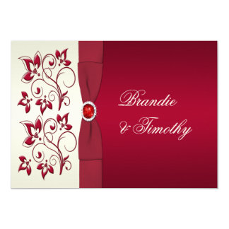 PRINTED RIBBON Red, Ivory Floral Wedding Invit Card