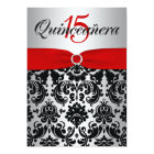 PRINTED RIBBON Red Silver Black Quinceanera Card